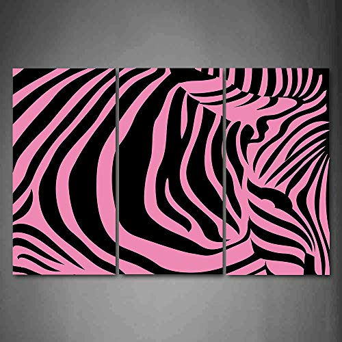 Price comparison product image Hanging Wall Art Oil Painting 3 Panel, Pink Zebra 3D Picture Print, Vibrant Background Zebra Skin Artistic Avant Garde Tribal Punk Indie Wild, Home Decoration Wall Decor Gift, Fuchsia Black