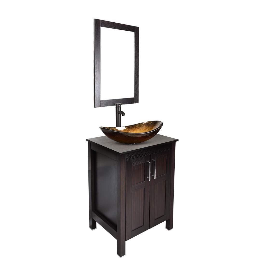 Bathroom vanities 24 inch with Sink - Freestanding Eco MDF Sink Cabinet Vanity Organizers with Counter Top Glass VesselSink Vanity Mirror and 1.5 GPM Faucet Combo (Vanity+Golden Sink)