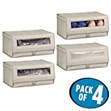 mDesign Fabric Storage Box for Shoes, Boots, Pumps, Sandals, Flats with a Clear Window and Hinged Lid for Closet Storage – Pack of 4, Large, Linen