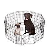 SmithBuilt Crates 8 Panel Metal Wire Popup Portable Fence Playpen Folding Exercise Yard with Door and Carry Bag, 30-Inch High, Black For Sale