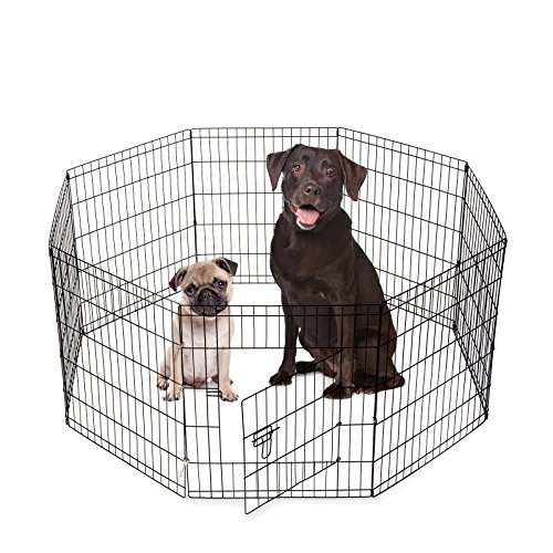 SmithBuilt Crates 8 Panel Metal Wire Popup Portable Fence Playpen Folding Exercise Yard with Door and Carry Bag, 30-Inch High, Black