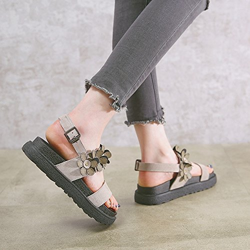 Cybling Kvinnor Öppen Tå Chunky Flatform Platt Roman Sandal Med Blomma Grå