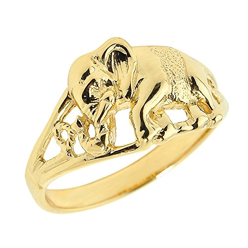 (Animal Kingdom 10k Yellow Gold Open Design Indian Elephant Ring (Size 7) )