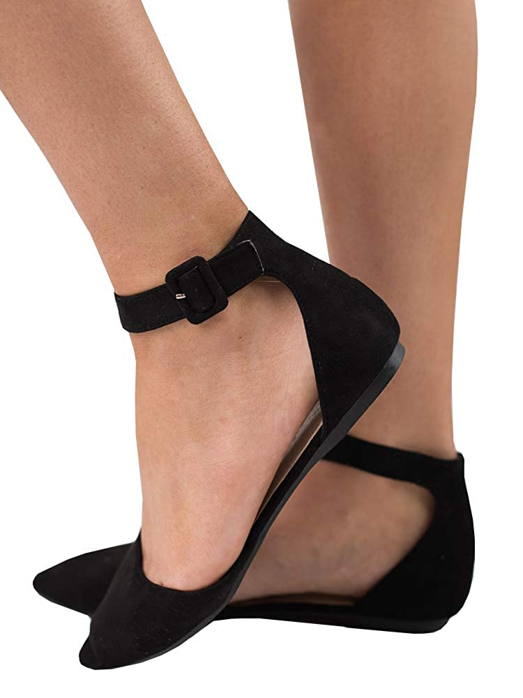 Black Womens Pointed Toe D'Orsay Flats with Ankle Strap Faux Suede Ballet shoes