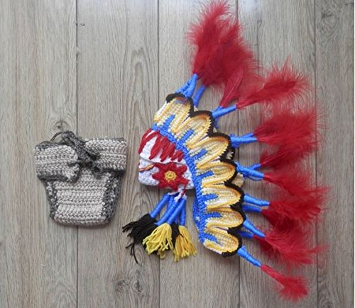Zehui Knitted Crochet Photo Photography Prop Hat Diaper Set One Hundred Days Baby Indian Feather Costume (Horse Indian Costume)