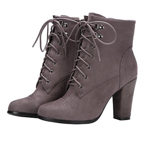 AIYOUMEI Damen Blockabsatz High Heels Stiefeletten mit Schnürung und Reißverschluss Ankle Boots LVrdYvaO