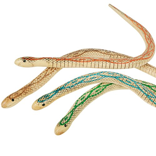 Ireav 4pcs Wooden Small Snakes Flexibility Fake Bendy Snake Toy Adorn Novelty Trick Toys -