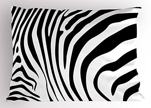 Ambesonne Zebra Print Pillow Sham, Animal Skin Pattern Nature and Desert Life Theme Simplistic Illustration, Decorative Standard Size Printed Pillowcase, 26 X 20 inches, Black and White