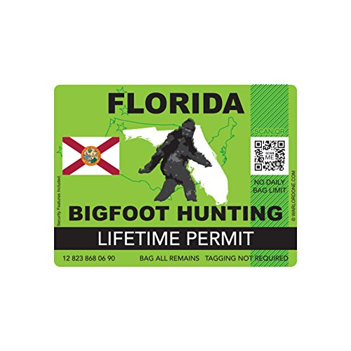 Florida Bigfoot Hunting Permit Sticker Die Cut Decal Sasquatch Lifetime FA Vinyl