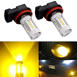 DunGu H11 H8 H16 LED Fog Light Bulb Replacement Error Free Projector For 12-24V Vehicles Golden Yellow (Pack of 2) …
