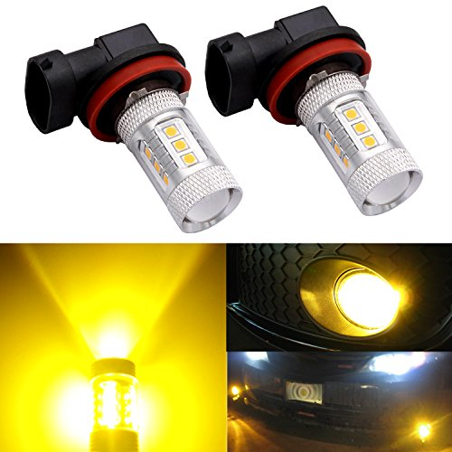 DunGu H11 H8 H16 LED Fog Light Bulb Replacement Error Free Projector For 12-24V Vehicles Golden Yellow (Pack of 2) … (530i Lights Fog Yellow Bmw)
