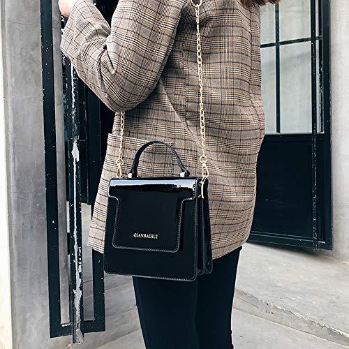 Chaîne Verni Peng Teng À Femmes Carré C De Porté 18x18x9cm couleur Cuir Taille Pour Messager Mode Sauvage Slung Petit B La 18x18x9cm En Sac Épaule drI8wr