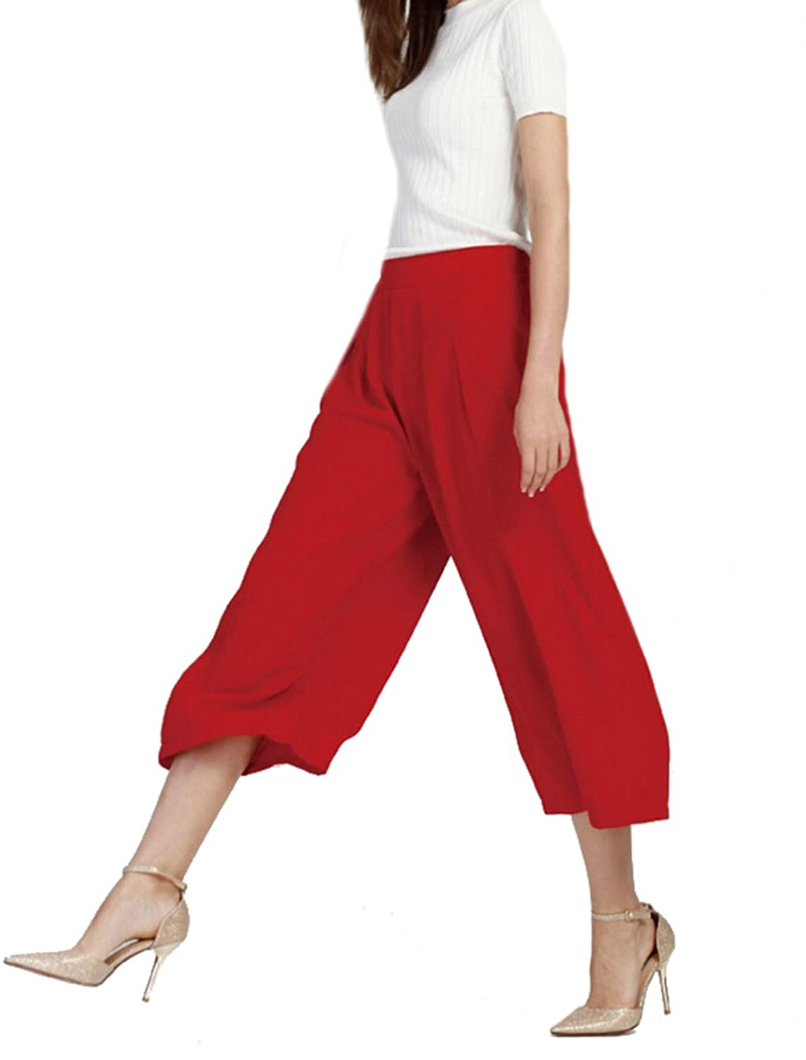 Liva girl Womens Casual LightWeight Solid Wide Leg Cropped Pants