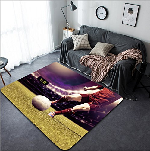 Vanfan Design Home Decorative soccer or football player running on the field Modern Non-Slip Doormats Carpet for Living Dining Room Bedroom Hallway Office Easy Clean Footcloth by vanfan