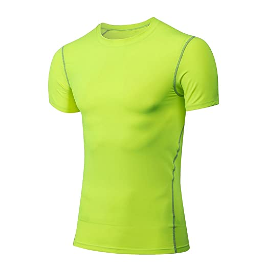 5a4157cc9d49f Amazon.com  InleaderStyle Men Gym Quick-Dry Bodybuilding Elastic Breathable  Training Short Sleeve Polyester T-Shirt Tee  Clothing