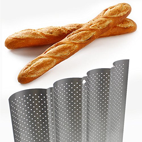 Black OUNONA Non-Stick Perforated French Bread Pan Baguette Mold for Baking 4 Loaves Wave Baker