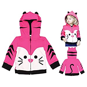 Pink Tabby Kitty Cat Hoodie / Jacket for Baby Infant Toddler Kids Girls by Mini Jiji