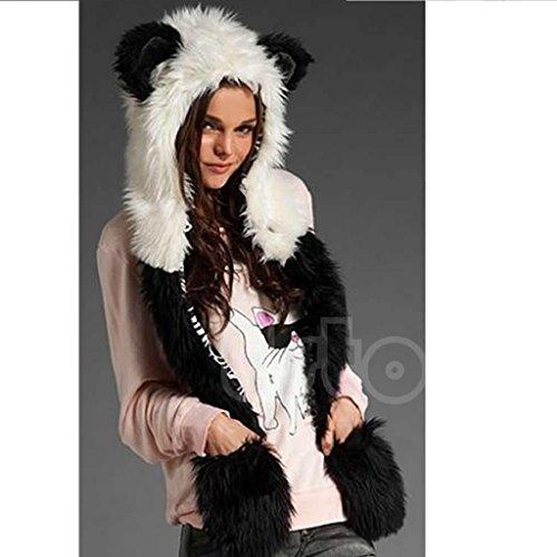 Fun Fluffy Scarf (Yumian Animal Faux Fur Hat Scarf Warm Winter Fluffy Plush Cap Hood Shawl Glove Dint (Panda))