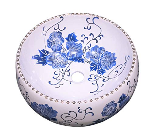 Hometure Bathroom Ceramic Vessel Counter above Sink Art Basin Classic Blue and White HS-0008