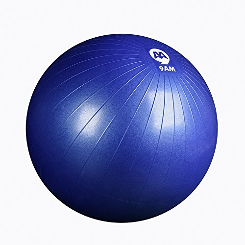 9AM Anti Burst Exercise Ball for Yoga Core Strength Balance Stability Fitness and Desk Chair/Slip resistant Supports 2500lbs/with Foot Pump n Workout Guide 65cm (Burst Resistant Feet Ball)