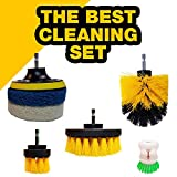 Drill Brush Attachments Set: 3 Sizes Cleaning Brushes + 3 Non Scratch Scrubbing Pads, Heavy Duty Bristles, Durable, Multipurpose Tools for Grout Floor, Tub, Shower, Bathroom, Kitchen and More