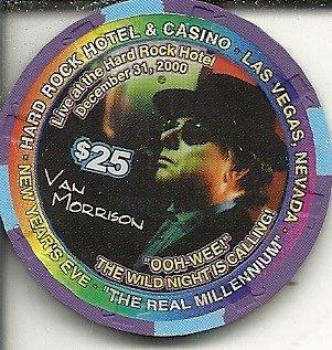 $25 hard rock hotel van morrison new years eve 2000 las vegas casino chip