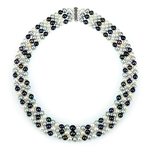 Sterling Silver 7-7.5mm 3-rows Multi-colors Freshwater Cultured High Luster Pearl Necklace, 20
