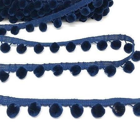 10mm Pom Pom Bobble Trim Fringe Navy - 1 Metre - 10mm Pom 23 Colours 1 Metre
