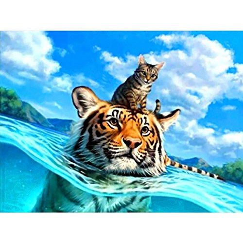 ClockCYCTECH 5D Diomand Painting DIY Tiger Rhinestone Pasted Cross Stitch Kits Home Decor Art Craft (Swimming Tiger)