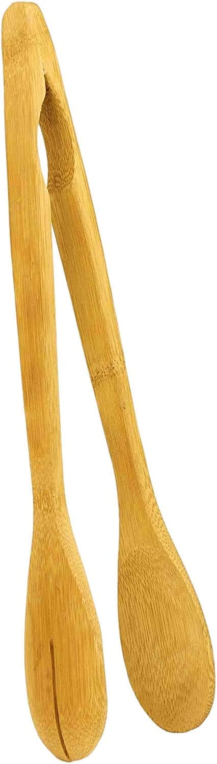 Large 12 Inch Natural Bamboo Tongs for Salad/Toaster/Cooking/Serving/Bread