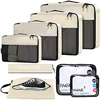 BAGAIL 8-Pcs Luggage Packing Organizers Packing Cubes for Travel Accessories - Beige - One Size