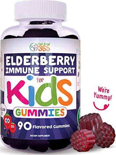 Elderberry Gummies for Kids by Feel Great 365 (90 Servings) with Immune Support* | Gluten Free Plant & Pectin Based Formula | Immunity Support with Vitamin C and Zinc | Sambucus Nigra Supplement
