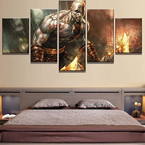 (kkxdp Frameless 5 Piece Hd Print Large God of War Game Cuadros Decoracion Paintings On Canvas Wall Art for Home Decorations Wall Decor Artwork-A)