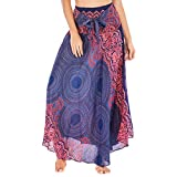 Womens 2 in 1 Bohemian Maxi Skirt Dress,Casual Loose Hippie Gypsy Boho Elastic Waist Floral Halter Travel Beach Skirt (Purple, Free Size)