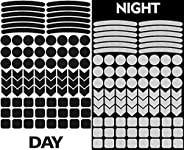 84pcs High Visibility Warning Reflective Rim Stickers Bicycle Black Kit Decals Reflector Highly Night Safety S