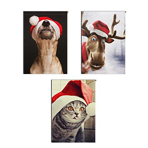 "USA Youhome Christmas Decorations Garden Flag -3d stereo flag -animal dog cat reindeer -12.5"" x 18"" - Double Sided Flag"