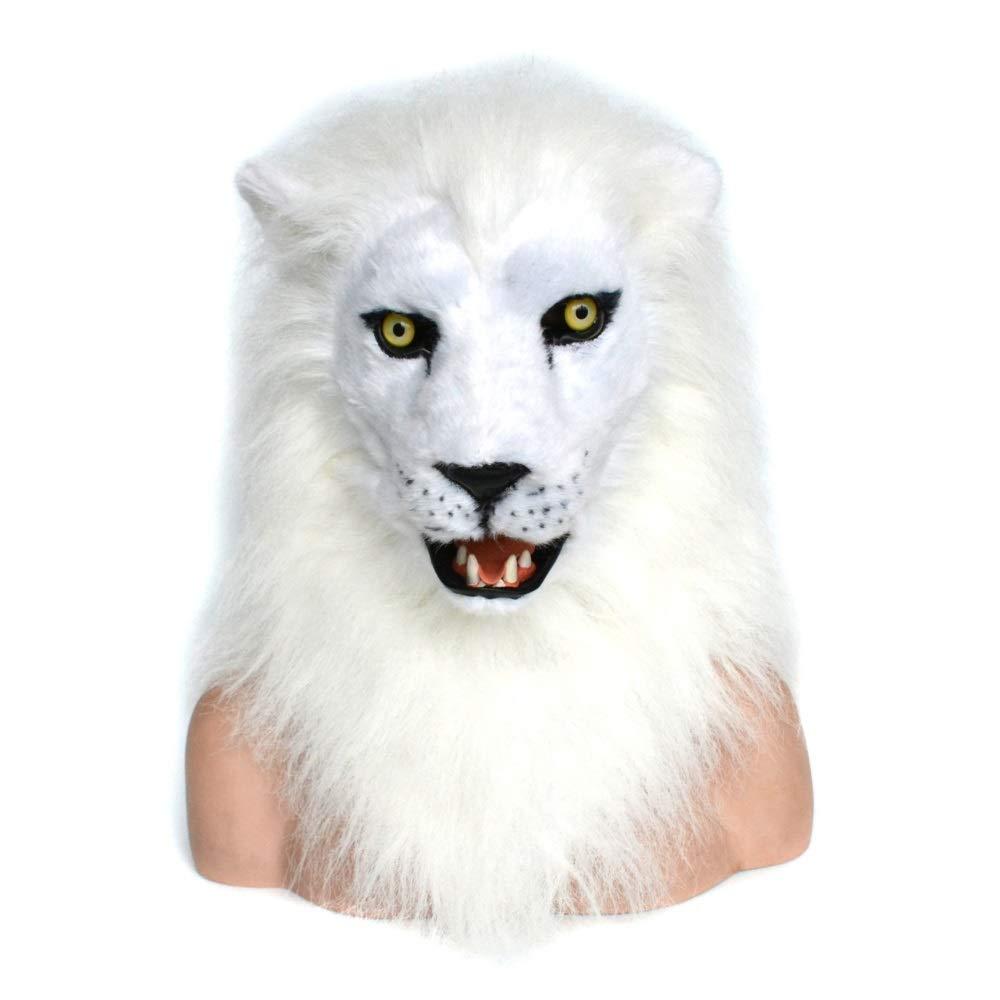 Maschera Animale di Simulazione JIALUN Maschera a Bocca Mobile in bianca Lion con Pelliccia Decorata per Halloween e Diverdeimento per Le Feste (Colore   bianca, Dimensione   25  25)