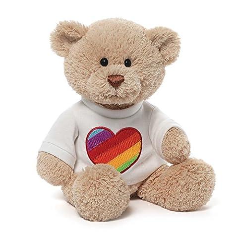 Gund Rainbow Heart T-Shirt Bear - Gund White Teddy Bear
