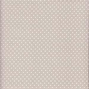 Tela beige-gris claro perlado y blanco - Lunares - 100% algodón suave   ancho: 140cm (1 metro)