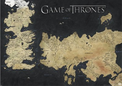 Xxl Game Of Thrones Poster Map Of Westeros And Essos The Worlds Of