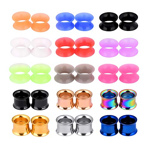 Longbeauty 30pcs Colorful Stainless Steel Silicone Double Flared Ear Tunnels Expander Gauges Set Stretcher Plugs