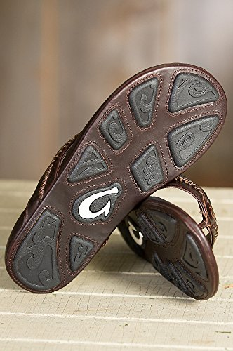 Men's OluKai Mea Ola Leather Sandals, DARK JAVA/DARK JAVA, Size 14 by OluKai (Image #3)