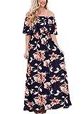 VIGVOG Women's Boho Floral Print Off Shoulder Maxi Long Skirt Casual Dress wih Short Sleeves