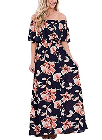 VIGVOG Women's Boho Floral Print Off Shoulder Maxi Casual Dress with Short Sleeves, Navy Blue, Medium