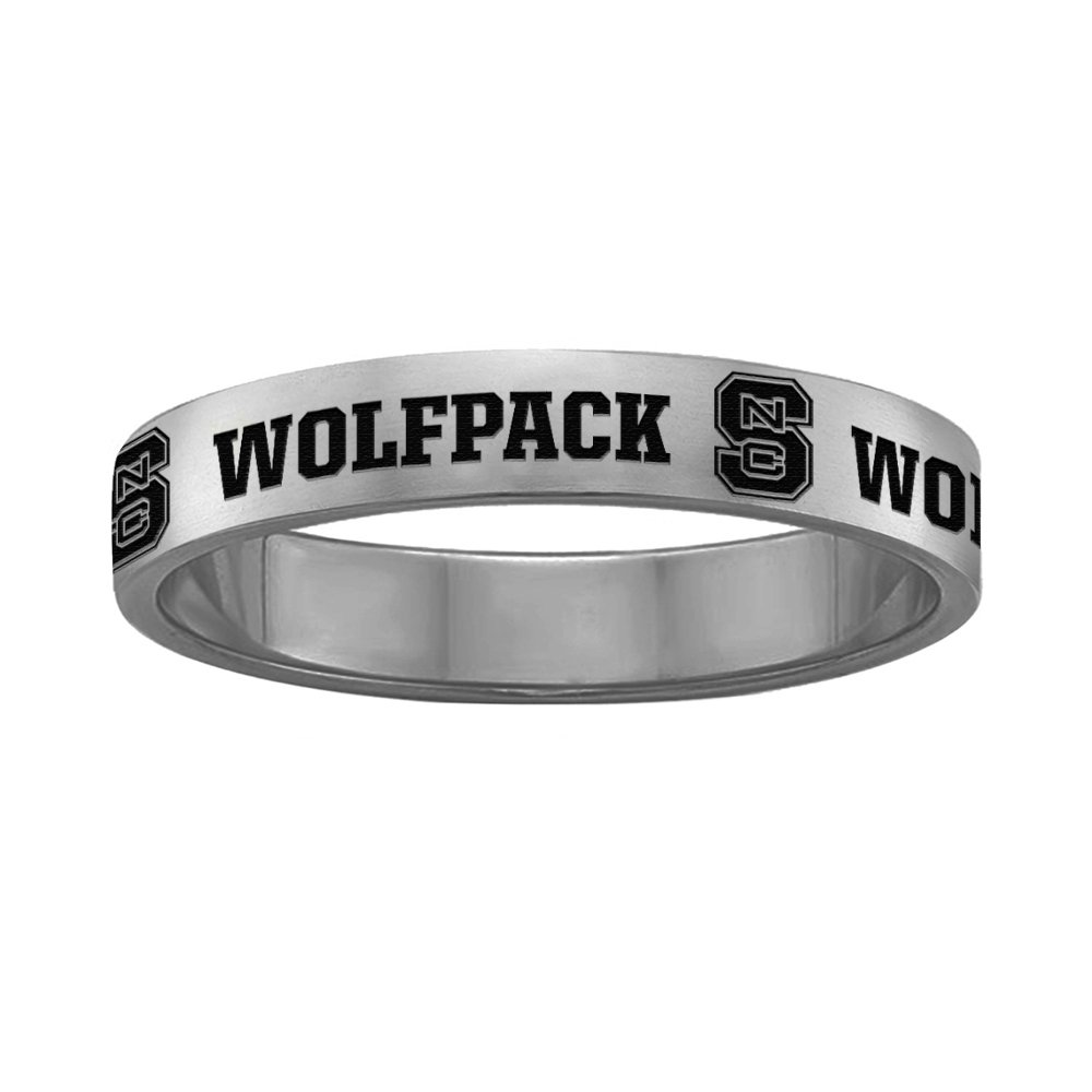 College Jewelry North Carolina State Wolfpack Ring Narrow Style 4MM Wide Band Full Logo Design