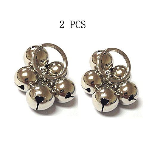 (Sport Art 2PCS DIY pet bells 304 stainless steel dog bells pet anti-lost bells ornaments never rusty sound sweet ears bells pet necklace Loudly bells)