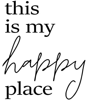 Crafte Life This is My Happy Place Wall Decal | Large Wall Sticker (19 in.  W x 23 in. H) | Wall Quote for Home Decor | Die Cut Vinyl Wall Art