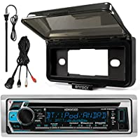 Kenwood KMR-D368BT In-Dash Marine Boat Audio Bluetooth CD Player Receiver With Waterproof Protective Cover Bundle Combo With Enrock USB/AUX To RCA Interface Mount Cable + 45 Radio Antenna Mast