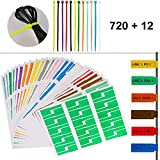 GoorDik 720 Pcs Self-Adhesive Cable Label Tags + 12 Colors Nylon Cable Zip Ties — 12 Assorted Colors 24 Sheets 720 Cable Label Stickers, A4 Size Waterproof Tear Resistant