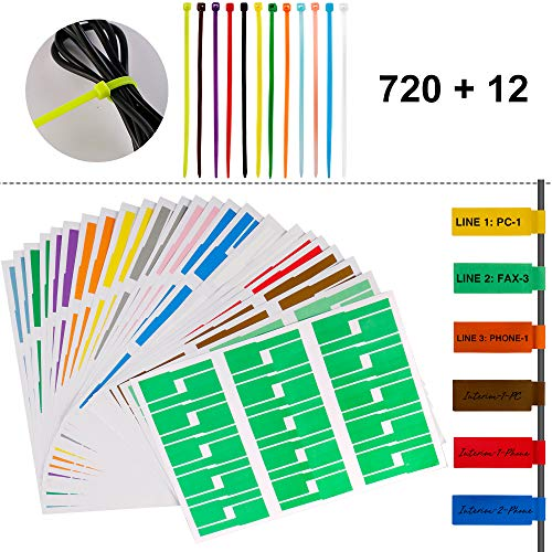 (720 Pcs Self-Adhesive Cable Label Tags + 12 Colors Nylon Cable Zip Ties - 12 Assorted Colors 24 Sheets 720 Cable Label Stickers, A4 Size Waterproof Tear Resistant)